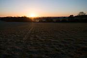 Frosty winter morning sunrise landscape in Olney, England, United Kingdom.
