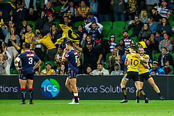 March 30, 2018 - Melbourne, VIC, U.S. - MELBOURNE, AUSTRALIA - MARCH 30 : Gareth Evans of the Wellington Hurricanes and Beauden Barrett of the Wellington Hurricanes  celebrate a try during Round 7 of the Super Rugby Series between the Melbourne Rebels and the Wellington Hurricanes on March 30, 2018, at AAMI Park in Melbourne, Australia. (Photo by Jason Heidrich/Icon Sportswire) (Credit Image: © Jason Heidrich/Icon SMI via ZUMA Press)