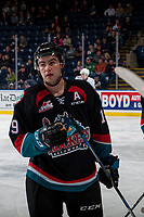 KELOWNA, CANADA - OCTOBER 4: Dillon Dube #19 of the Kelowna Rockets stands on the ice against the Victoria Royals on October 4, 2017 at Prospera Place in Kelowna, British Columbia, Canada.  (Photo by Marissa Baecker/Shoot the Breeze)  *** Local Caption ***