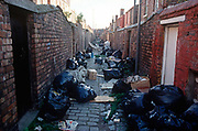 During the Liverpool binmens strike of 1991, litter and refuse bags collect in the back alleyway of back-to-back terraced houses, on 14th June 1991, in Liverpool, England. Surrounded by black bin-bags during the Merseyside dustmans strike of 1991, two young Scouse girls lean against a brick wall in a rear alleyway between poor terraced housing in Liverpool, England. The industrial action against the local authority was a health problem for Liverpool over that summer when streets filled with rubbish. Vermin like rats ran around and public city parks filled with every kind of refuse and garbage. Few of these back-to-backs existed in the 1990s after being cleared to allow construction of high-rise tower-blocks and flats.