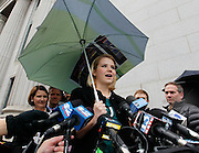 Elizabeth Smart addresses the media outside federal court following a guilty verdict in the Brian David Mitchell trial Friday, December 10 2010 in Salt Lake City. Mitchell was found guilty for the June 5 2002 kidnapping of Smart. (AP Photo/Colin E Braley)