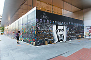 The George Floyd memorial artwork at the downtown Portland Apple store.
