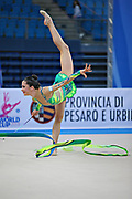 Neta Rivkin during final at ribbon in Pesaro World Cup at Adriatic Arena on 28 April 2013. Neta was born on June 23, 1991 in Petah Tiqwa Israel. <br /> She is one of Israel's most successful rhythmic gymnasts.