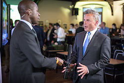 © Licensed to London News Pictures. 31/05/2017. Cambridge, UK. Peter Whittle (R), Deputy Leader of UKIP, is interviewed in the spin room at Cambridge University Union after the BBC General Election Debate. Photo credit: Rob Pinney/LNP