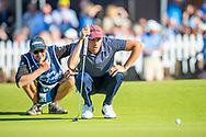 Benjamin Hebert (FRA) surveys his putt on the 18th green during the final round of the Aberdeen Standard Investments Scottish Open at The Renaissance Club, North Berwick, Scotland on 14 July 2019.