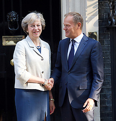 Theresa May MP, Prime Minister, welcomes President of the European Council, Donald Tusk to No 10.<br /> 8th September 2016 <br /> Downing Street, London, Great Britain <br /> <br /> Donald Tusk <br /> Theresa May <br /> <br /> <br /> Photograph by Elliott Franks <br /> Image licensed to Elliott Franks Photography Services