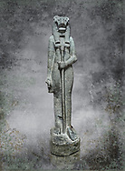 """Ancient Egyptian statue of goddess Sekhmet, grandodiorite, New Kingdom, 18th & 20thDynasty (1390-1150 BC), Thebes. Egyptian Museum, Turin. <br /> <br /> Sekhmet, """"the Powerful One"""" was a fearsome goddess symbolised by her lioness head. Daughter of the sun she personifies the disk of the world during the day. Sekhmet is the angry manifestation of Hathor inflicting the scourges of summer heat, famine and illness which is why the goddess needed to be exorcised every day. Drovetti Collection. C 255"""
