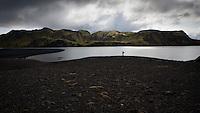 Margrét við Langasjó. Fögrufjöll í baksýn. Hiker by lake Langisjor. Fogrufjoll mountains in background.