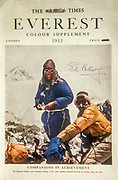 The Times Everest Colour Supplement, London, 1953 - Tenzing & Hillary during 1st ascent Mt Everest, Nepal - signed by Ed Hillary