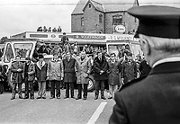 UUAC strike leaders, Rev Ian Paisley and loyalist politician Ernest Baird, join farmers blocking the town centre in Ballymena during the ongoing loyalist strike. The police took no action at the time but later arrested Paisley & Baird and charged them with obstruction. 9th May 1977. 197705090521<br />