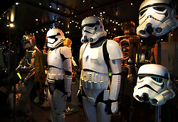 EDITORIAL USE ONLY<br /> Stormtrooper uniforms go on display at The STAR WARS Identities: The Exhibition at The O2 in London, which features over 200 props, models, costumes and artwork from the original films.