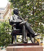 Statue of Sir George Peabody at the rear of the Royal Exchange, City of London, London