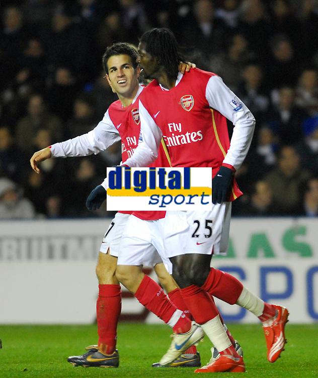 Photo: Leigh Quinnell/Sportsbeat Images.<br /> Reading v Arsenal. The FA Barclays Premiership. 12/11/2007. Arsenals Cesc Fabregas(L) congratulates Emmanuel Adebayor on his goal.