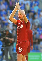 Jordan Henderson of Liverpool applauds fans after the final whistle- Mandatory by-line: Nizaam Jones/JMP - 21/04/2019 -  FOOTBALL - Cardiff City Stadium - Cardiff, Wales -  Cardiff City v Liverpool - Premier League