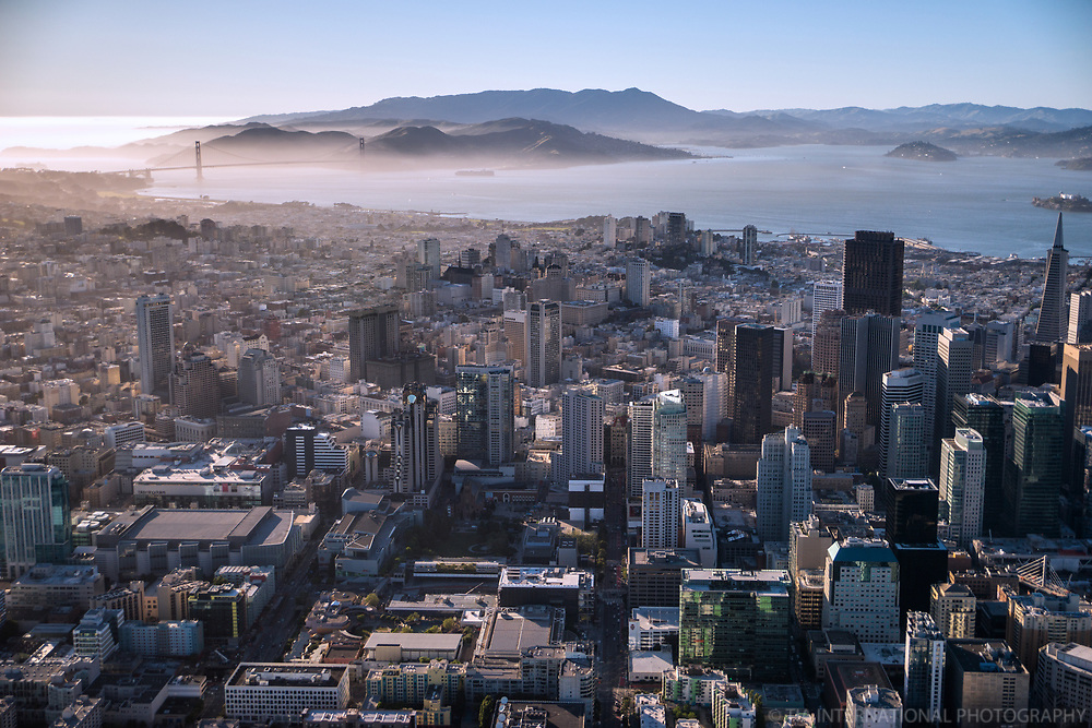 Downtown SF facing Northwest to Golden Gate Bridge