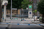 In the aftermath of the London Bridge and Borough Market terrorist attack the previous night, possessions and emergency First Aid equiupment is left in the road a half a mile from the crime scene where 7 people were killed and many others injured Sundays total. On Sunday 4th June 2017, in the south London borough of Southwark, England.