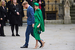 The Duke and Duchess of Sussex pictured at the Commonwealth Service at Westminster Abbey, London on Commonwealth Day. The service is the Duke and Duchess of Sussex's final official engagement before they quit royal life. Picture date: Monday March 9, 2020. Photo credit should read: Matt Crossick/Empics
