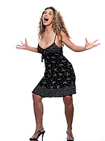 caucasian woman screaming happy portrait wearing summer dress isolated studio on white background