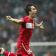 Turkey's Arda TURAN celebrates after scoring against Kazakhstan during their Euro 2012 Group A qualifying soccer match at Turk Telekom Arena in Istanbul September 2, 2011. Photo by TURKPIX