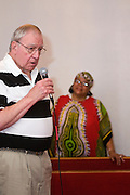 Assistant County Attorney William Warner, a board member at ASI, gives testimony during a communion service at the First Church of American Slaves at 314 Dr. W. J. Hodge Street, Sunday Aug. 7, 2011 in Louisville, Ky. (Photo by Brian Bohannon)