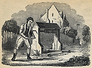 Man raising bucket of water from a well by turing crank handle and winding rope round windlass .Engraving 1836.