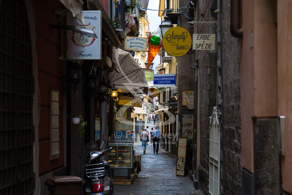 Sorrento, Italy, September 17 2017.Via Cesareo, one of the main shopping streets, is quiet at daybreak in Sorrento, Italy. © Paul Davey