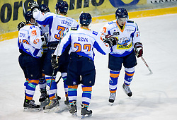 Players of Triglav celebrate at SLOHOKEJ league ice hockey match between HK Slavija and HK Triglav Kranj, on February 3, 2010 in Arena Zalog, Ljubljana, Slovenia. Triglaw won 4:1. (Photo by Vid Ponikvar / Sportida)