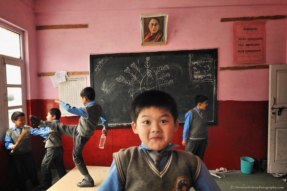 Boys are playing after school at a Tibetan primary school in Manali, India, 2009