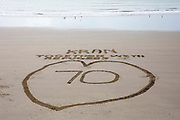 A huge love heart and message 'Together with Refugees' appeared on Sunny Sands Beach in Folkestone this morning to mark the 70th anniversary of the signing of the Geneva Convention on 28th of July 2021 in Folkestone, United Kingdom.