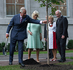 Prince Charles touches a tree after taking part in a tree planting ceremony as Camilla, Duchess of Cornwall, Sharon Johnston and Governor General David Johnston look on at Rideau Hall, in Ottawa, ON, Canada on Saturday, July 1, 2017. Photo by Adrian Wyld/CP/ABACAPRESS.COM