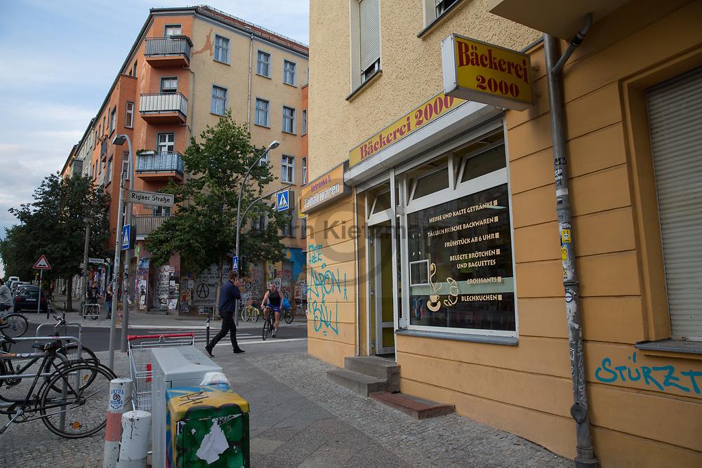 Berlin, Germany - 29.07.2016 <br /> <br /> Impressions of the Rigaer Strasse in Berlin-Friedrichshain. The bakery 2000, in the background the building in which the house project Liebig14, which was evicted in 2011, was located. <br /> <br /> Eindruecke aus der Rigaer Strasse in Berlin-Friedrichshain. Die Baeckerei 2000, im Hintergrund das Gebaeude in dem sich das 2011 geraeumte Hausprojekt Liebig14 befand. <br /> <br /> Photo: Bjoern Kietzmann