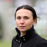 NORTH SALEM, NEW YORK - May 15: Georgina Bloomberg walking the course before competition during The $50,000 Old Salem Farm Grand Prix presented by The Kincade Group at the Old Salem Farm Spring Horse Show on May 15, 2016 in North Salem. (Photo by Tim Clayton/Corbis via Getty Images)