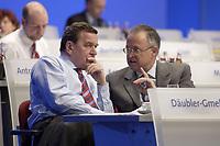 18 NOV 2003, BOCHUM/GERMANY:<br /> Gerhard Schroeder (L), SPD, Bundeskanzler, und Hans Eichel (R), SPD, Bundesfinanzminister, im Gespraech, SPD Bundesparteitag, Ruhr-Congress-Zentrum<br /> IMAGE: 20031118-01-109<br /> KEYWORDS: Parteitag, party congress, SPD-Bundesparteitag, Gerhard Schröder, Gespräch