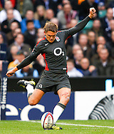 Toby Flood of England kicks another penalty during the Investec series international between England and Australia at Twickenham, London, on Saturday 13th November 2010. (Photo by Andrew Tobin/SLIK images)