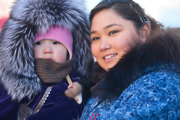 Jenna Westlake and daughter, Mallory Deana Morris (m.r.), at the finish line of the Anchorage Fur Rendezvous Sled Dog Race, Anchorage, Alaska. (Originally from Kiana, Alaska), Iñupiat