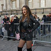 London, England, UK. 30th Dec 2018. Iness is a European Pop Star at the free preview for The London New Year's Day Parade with a special performance in Trafalgar Square.