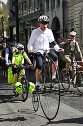 © under license to London News Pictures. 09/04/2011. Over 500 riders brave the spring heatwave to cycle ten miles through the streets of London on the 3rd annual Tweed Run . The Vintage inspired event takes riders on a 10 mile jaunt around the Capital.  Photo credit should read Alan Roxborough/LNP