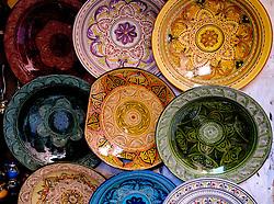 Decorative plates for sale in the Medina in Marrakech, Morocco, North Africa<br /> <br /> <br /> (c) Andrew Wilson | Edinburgh Elite media