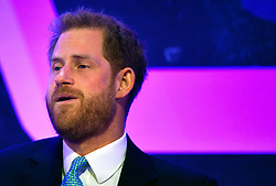 The Duke of Sussex reacts as he delivers a speech during the annual WellChild Awards at the Royal Lancaster Hotel, London.