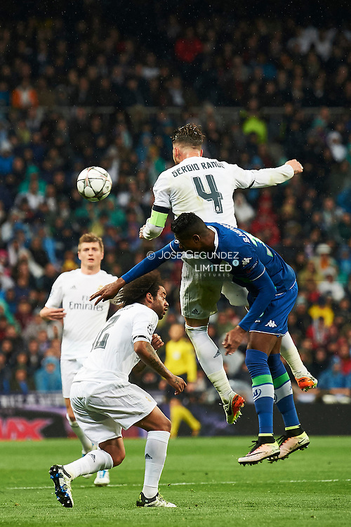 Sergio Ramos (defender; Real Madrid) in action during the UEFA Champions League quarter-final second leg football match between Real Madrid vs Wolfsburg at Santiago Bernabeu on April 12, 2016 in Madrid