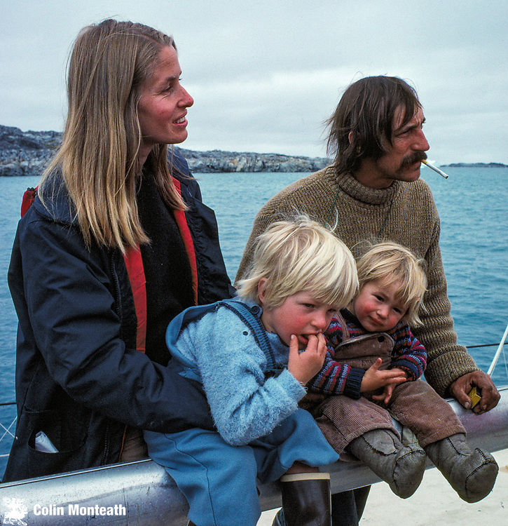 Sally and Gerome Poncet and boys Liev and Dion aboard their yacht Damien II, at US base Palmer Station, Anvers Island, 1983. Dion was born on South Georgia ( birth certificate SG$1) after their winter near Dion Islands, Adelaide Island described in Le Grand Hiver (see below) Both Sally (Tasmanian) and Gerome (French) were independently awarded the British polar medal - sally for seabird conservation and rat eradication programme on South Georgia, Gerome for services to polar yachting and polar film-making after helping the Attenborough crews on many voyages with his vessel Golden Fleece. The Poncets became the third husband and wife duo to be awarded the polar medal after Ran & Ginny Fiennes (British medal) and Margaret Bradshaw ( British medal) & John Bradshaw (New Zealand medal) - and, surprise, surprise, both boys went on to become polar yachtsmen, Dion in particular, taking over Golden Fleece. www.colinmonteath.nz