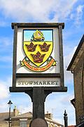 Close up of town sign, Stowmarket, Suffolk, England, UK
