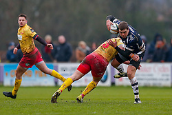Bristol Rugby Outside Centre Gareth Maule is tackled by Scarlets XV Outside Centre Nathan Edwards - Mandatory byline: Rogan Thomson/JMP - 17/01/2016 - RUGBY UNION - Clifton Rugby Club - Bristol, England - Scarlets Premiership Select XV v Bristol Rugby - B&I Cup.