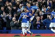 Everton midfielder Gylfi Sigurosson (10) celebrates his goal 2-0  during the Premier League match between Everton and Chelsea at Goodison Park, Liverpool, England on 17 March 2019.