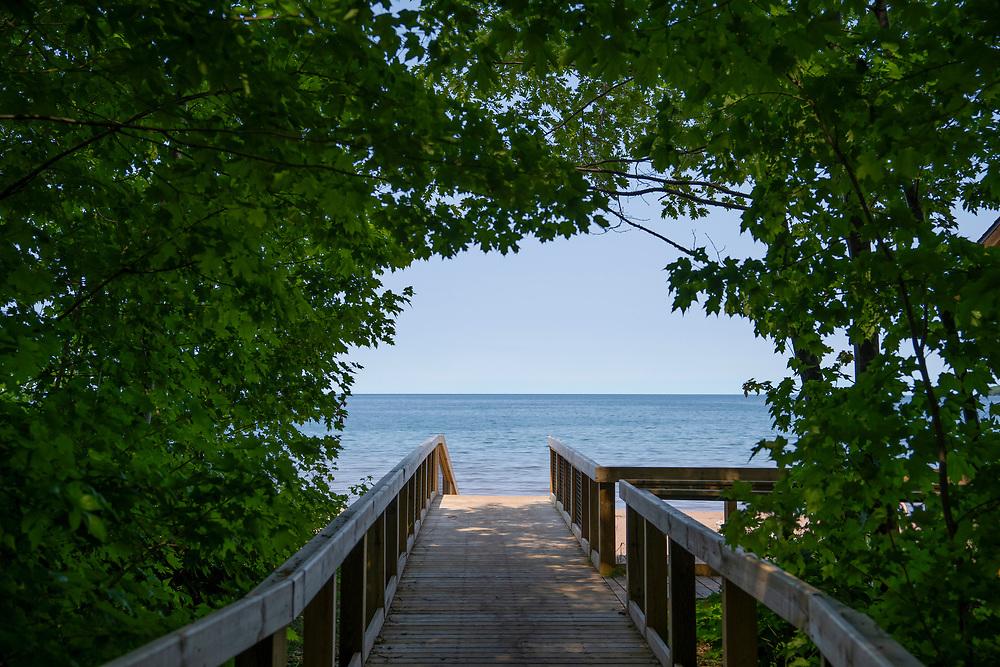 Pavilion walkway to the Lake Superior beach at Big Bay, Michigan.