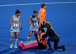 Argentina's Belen Suscci is consoled after losing in the penalty shootout at full time