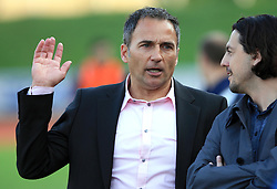 Coach of Maribor Darko Milanic and Zlatko Zahovic at 1st semifinal match of Pokal Hervis between NK Interblock and NK Maribor at  ZAK Stadium, on April 15, 2009, in Ljubljana, Slovenia.  (Photo by Vid Ponikvar / Sportida)