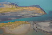 Aerial view over Lake Laitaure showing silt deposits from Rapa river forming sand spits and vegetational growth, Sarek National Park, Laponia World Heritage Site, Sweden