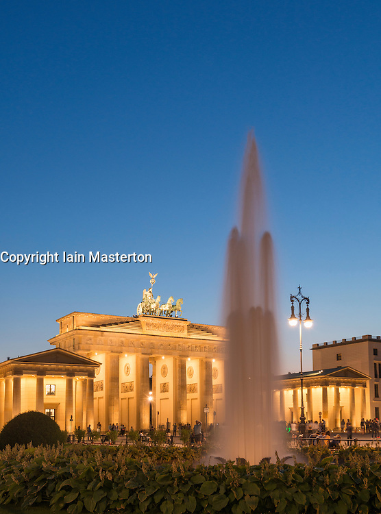 Night view of Brandenburg Gate in Berlin Germany