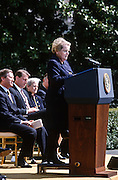 Secretary of State Madeleine Albright address an event on the Chemical Weapons Ban treaty at the White House event April 4,1997 in Washington, DC.